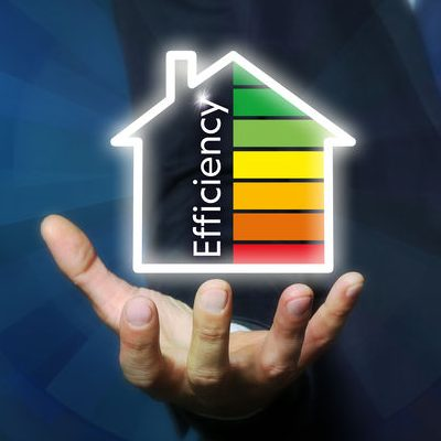 Hand Holding an Energy Efficiency Rating House Icon